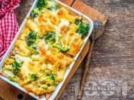 Рецепта Печени макарони пене с броколи, сирене рикота и кашкавал на фурна